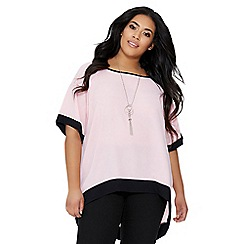 Quiz - Curve pink and black necklace top