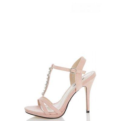 Quiz - Blush pink faux suede pearl heel sandals