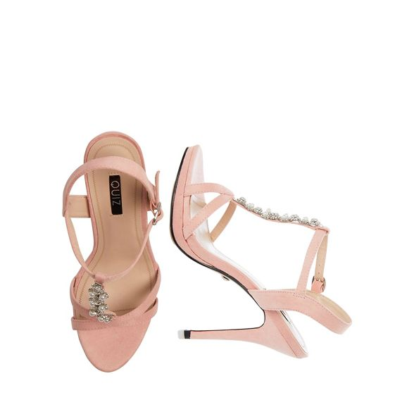 Blush pink Quiz suede faux sandals heel pearl 1aOwUxOq