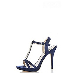 Quiz - Navy satin pearl and diamante sandals