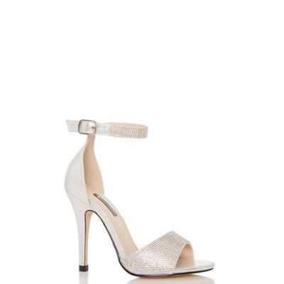 Quiz - Silver shimmer diamante ankle strap sandals