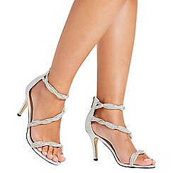 Quiz - Silver diamante twist sandals
