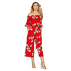 Quiz - Red floral print frill sleeve culotte jumpsuit