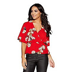 Quiz - Red floral wide sleeve peplum top