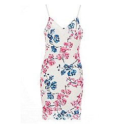 Quiz - Blue and pink floral crochet bodycon dress