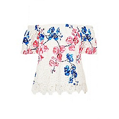 Quiz - Blue and pink crochet floral bardot top