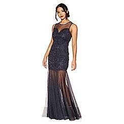 Quiz - Navy sequin mesh sheer maxi dress