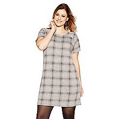 Quiz - Curve grey jacquard check tunic dress