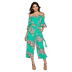 Quiz - Green and pink floral print frill sleeve culotte jumpsuit