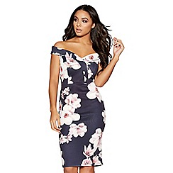 Quiz - Navy and pink floral print sweetheart neckline dress