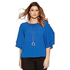 Quiz - Curve blue crepe double sleeve necklace top