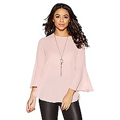 Quiz - Pink crepe ruffle sleeve necklace top
