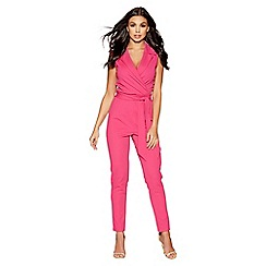 Quiz - Pink lapel tie front jumpsuit