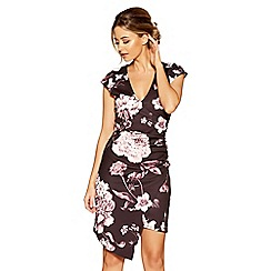 Quiz - Black floral print wrap front asymetric dress