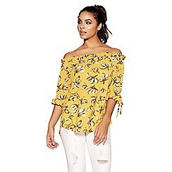 Quiz - Mustard and white floral bardot top