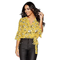 Quiz - Mustard and white floral tie side top
