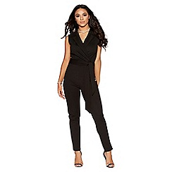 Quiz - Black lapel tie front jumpsuit