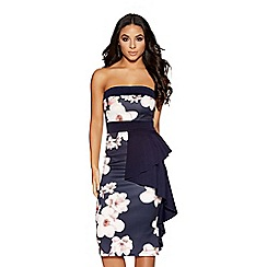 Quiz - Navy and cream floral ruffle dress