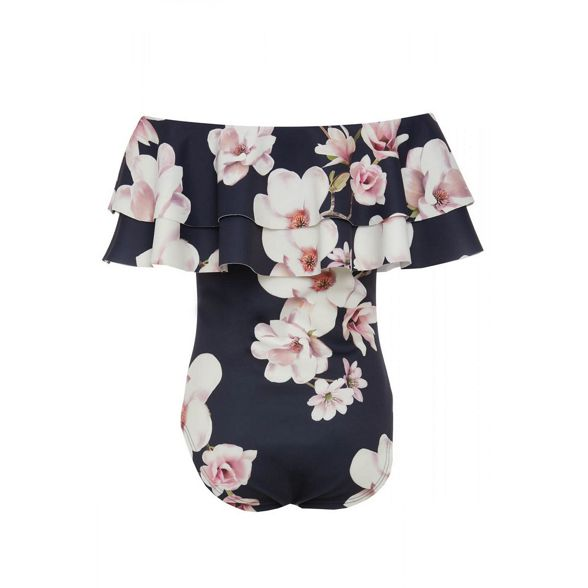 Navy floral bodysuit pink and bardot print Quiz Bnxwvd1qHB