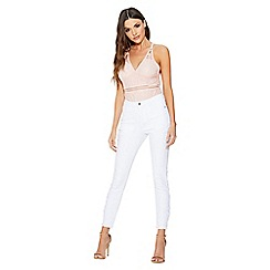 Quiz - White denim skinny stretch crochet jeans