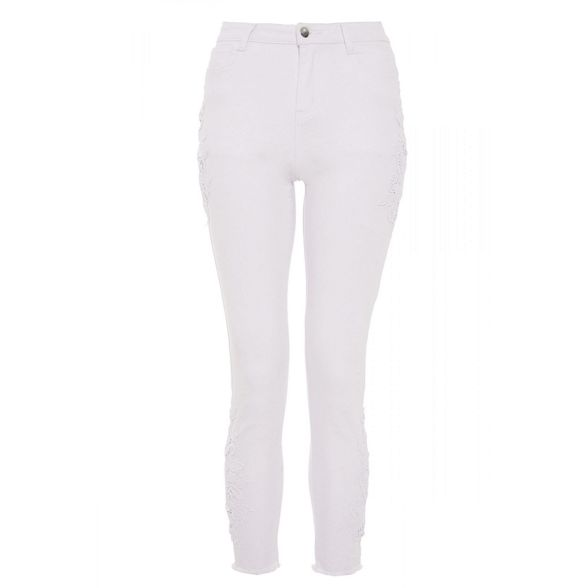 crochet denim Quiz skinny White jeans stretch wxq6Bqg4
