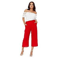 Quiz - Red elastic culotte trousers