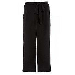 Quiz - Black crepe elastic tie belt culottes