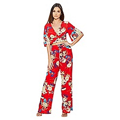 Quiz - Red floral print palazzo trousers