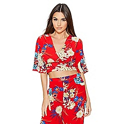Quiz - Red floral print flute sleeve top