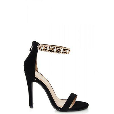 Quiz   Black Faux Suede Jewel Strap Sandals by Quiz