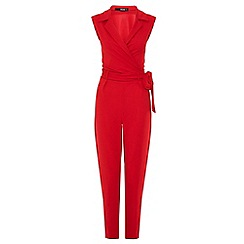 Quiz - Red lapel tie front jumpsuit