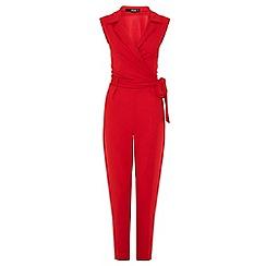 Quiz - Red lapel tie front jumpsuit