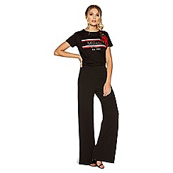Quiz - Black red and cream stripe trousers