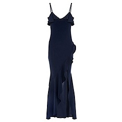 Quiz - Navy ruffle front maxi dress