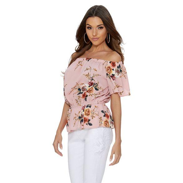 Quiz floral bardot crepe Pink top CWpqrzBCnx