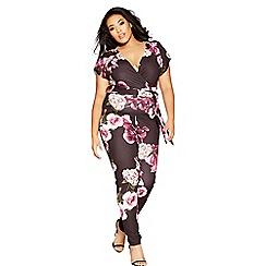 Quiz - Curve black and purple floral wrap over jumpsuit