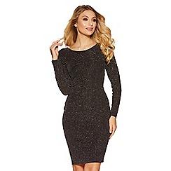 Quiz - Black glitter long sleeves midi dress