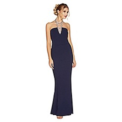 Quiz - Navy diamante choker maxi dress
