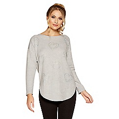 Quiz - Grey light knit diamante heart jumper