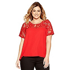 Quiz - Curve red chiffon lace bow back top