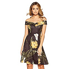 Quiz - Black mustard and cream floral print bardot dress