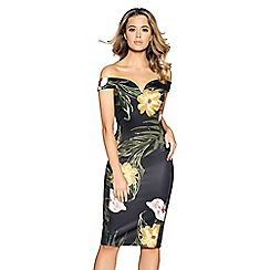 Quiz - Black and mustard floral dress