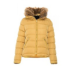 Quiz - Mustard padded faux fur trim jacket