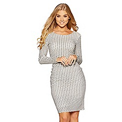 Quiz - White and silver glitter long sleeve dress