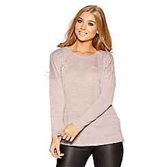 Quiz - Pink knit pearl and diamante jumper