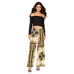 Quiz - Black and gold scarf palazzo trousers
