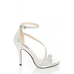 Quiz - Silver diamante slant strap heel sandals