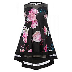 Quiz - Curve black and pink floral print sweetheart neck dress