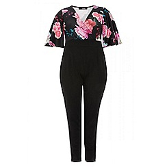 Quiz - Curve black and pink floral  wrap over jumpsuit
