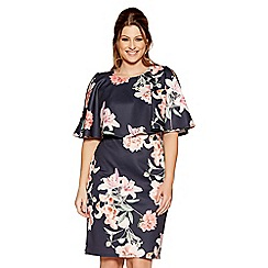 Quiz - Curve navy and pink floral print cape dress